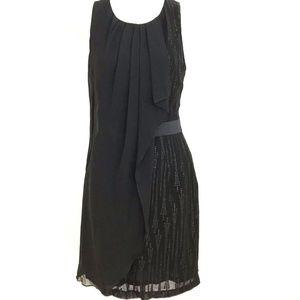 CYNTHIA STEFFE LBD black dress cocktail Silk shawl